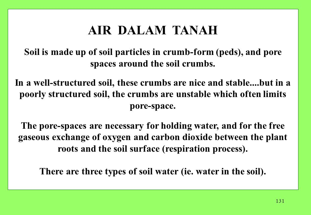 There are three types of soil water (ie. water in the soil).