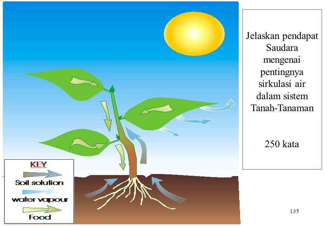 Jelaskan pendapat Saudara mengenai pentingnya sirkulasi air dalam sistem Tanah-Tanaman