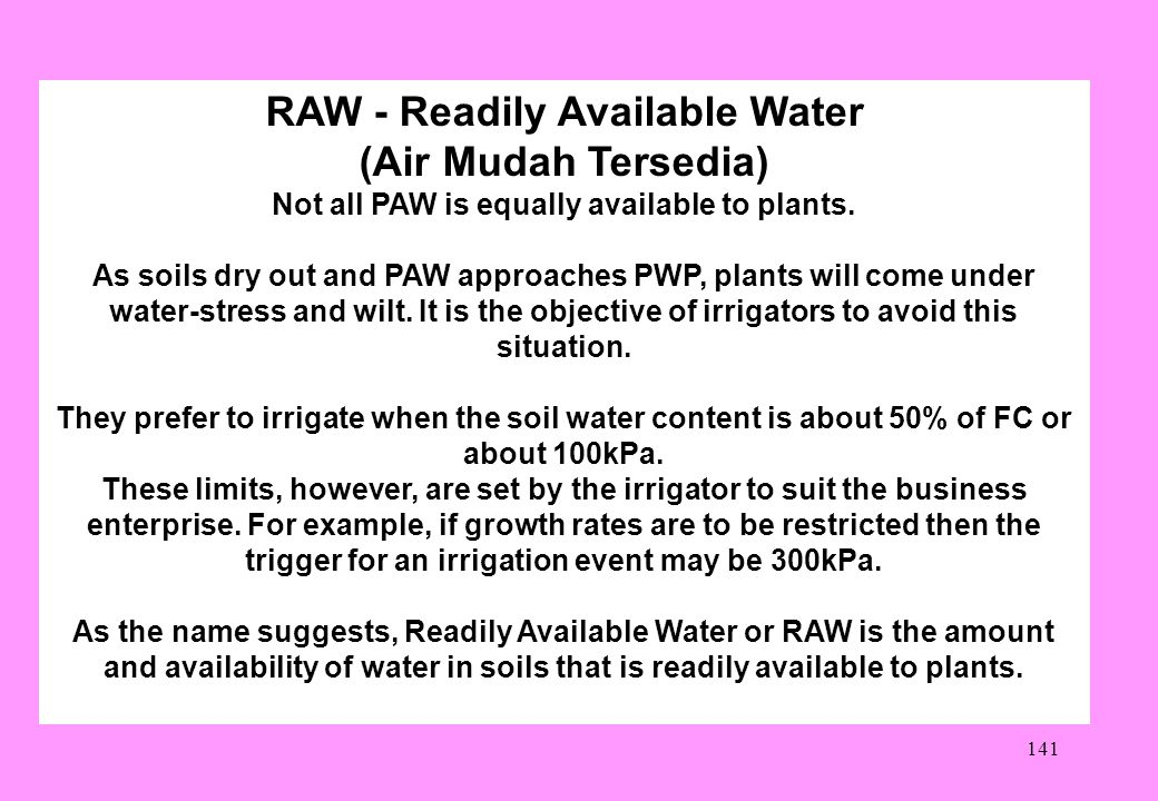 RAW - Readily Available Water (Air Mudah Tersedia)