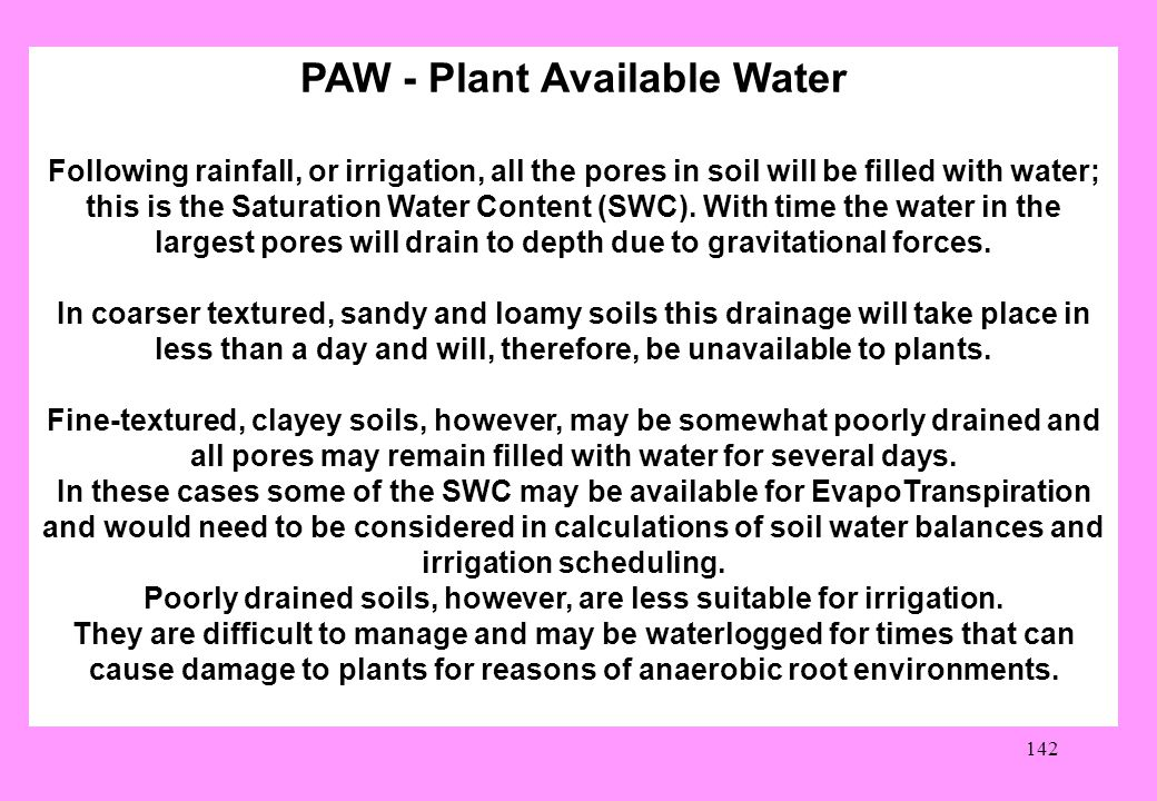 PAW - Plant Available Water