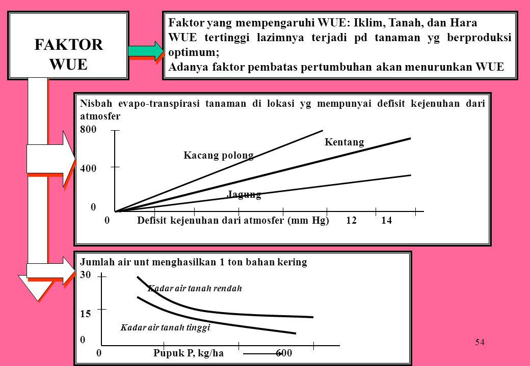 FAKTOR WUE Faktor yang mempengaruhi WUE: Iklim, Tanah, dan Hara