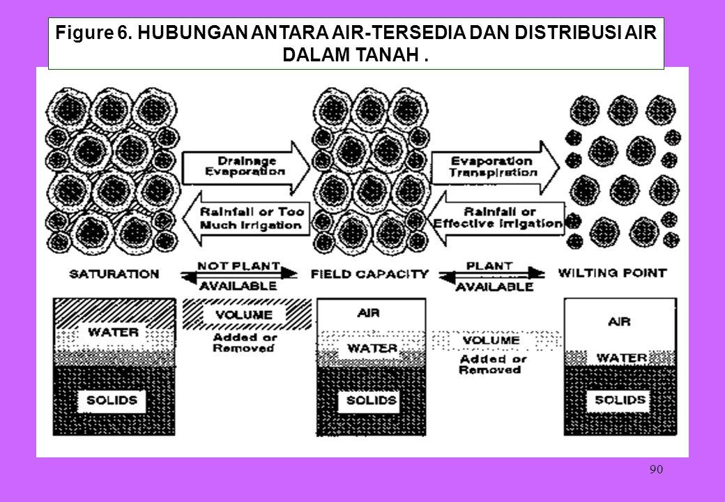 Figure 6. HUBUNGAN ANTARA AIR-TERSEDIA DAN DISTRIBUSI AIR DALAM TANAH .