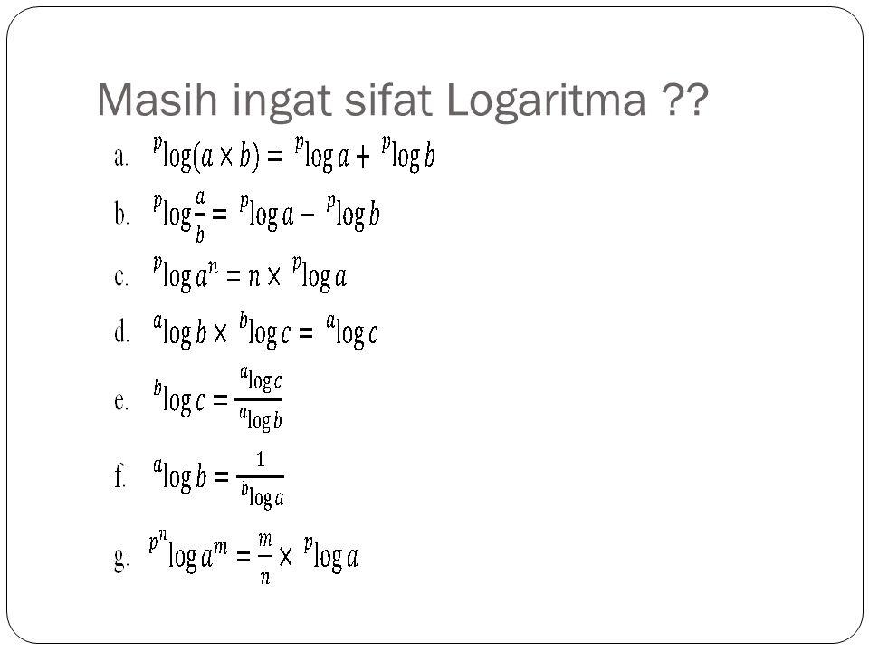 Masih ingat sifat Logaritma