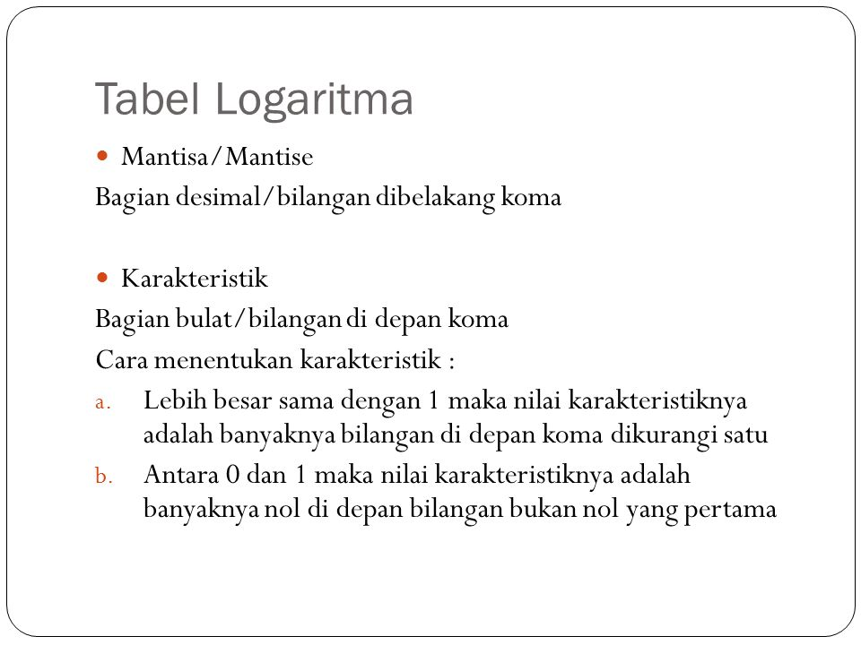 Tabel Logaritma Mantisa/Mantise