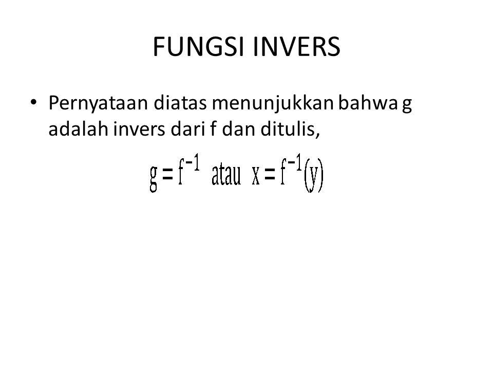 FUNGSI INVERS Pernyataan diatas menunjukkan bahwa g adalah invers dari f dan ditulis,