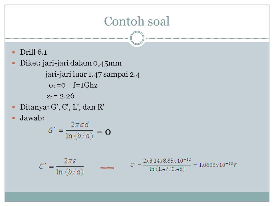 Contoh soal = 0 Drill 6.1 Diket: jari-jari dalam 0,45mm