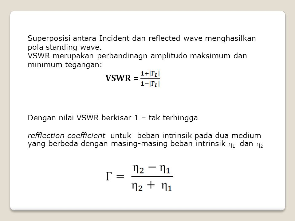 Superposisi antara Incident dan reflected wave menghasilkan pola standing wave.