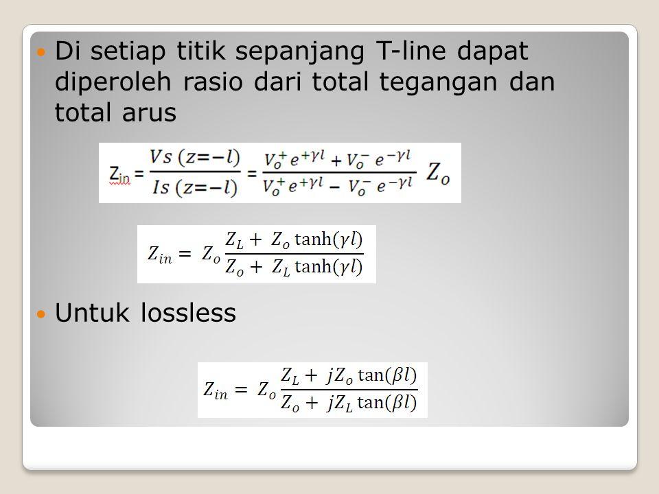 Di setiap titik sepanjang T-line dapat diperoleh rasio dari total tegangan dan total arus
