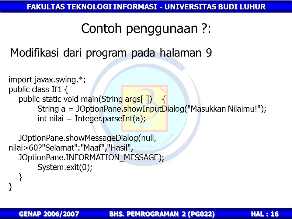 Contoh penggunaan : Modifikasi dari program pada halaman 9