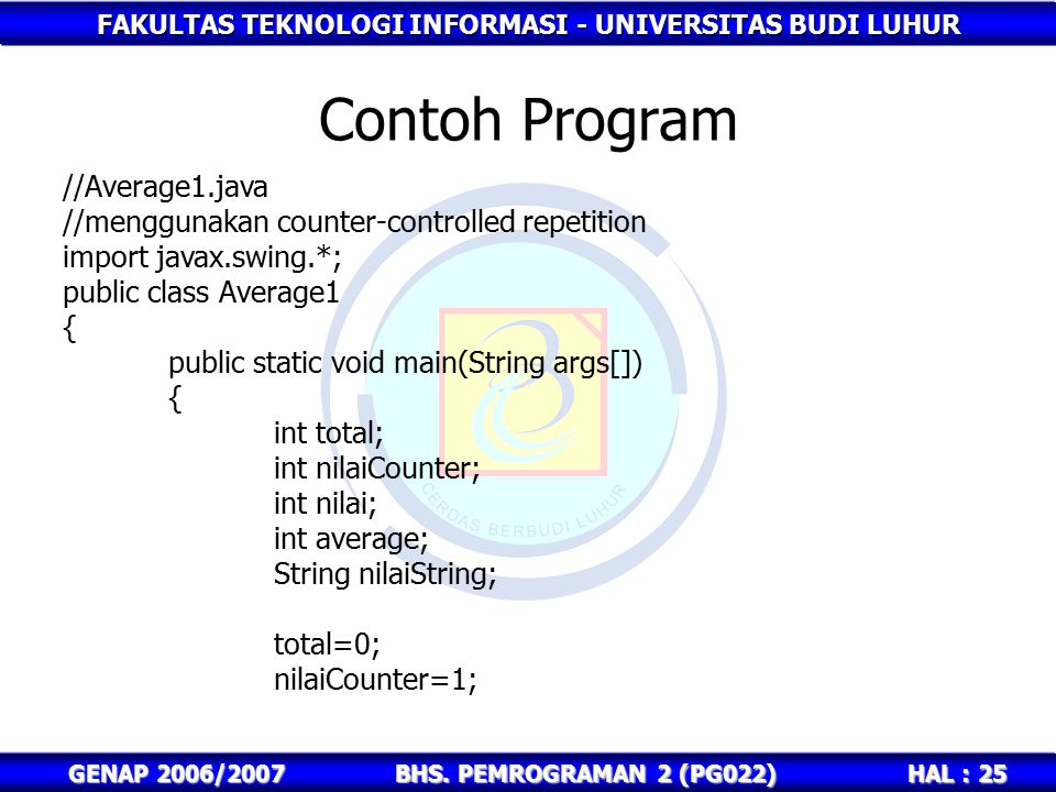 Contoh Program //Average1.java