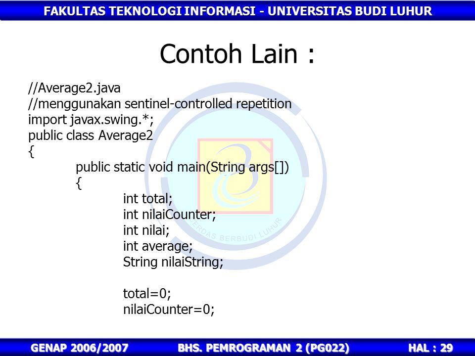 Contoh Lain : //Average2.java