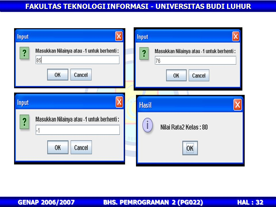GENAP 2006/2007 BHS. PEMROGRAMAN 2 (PG022)