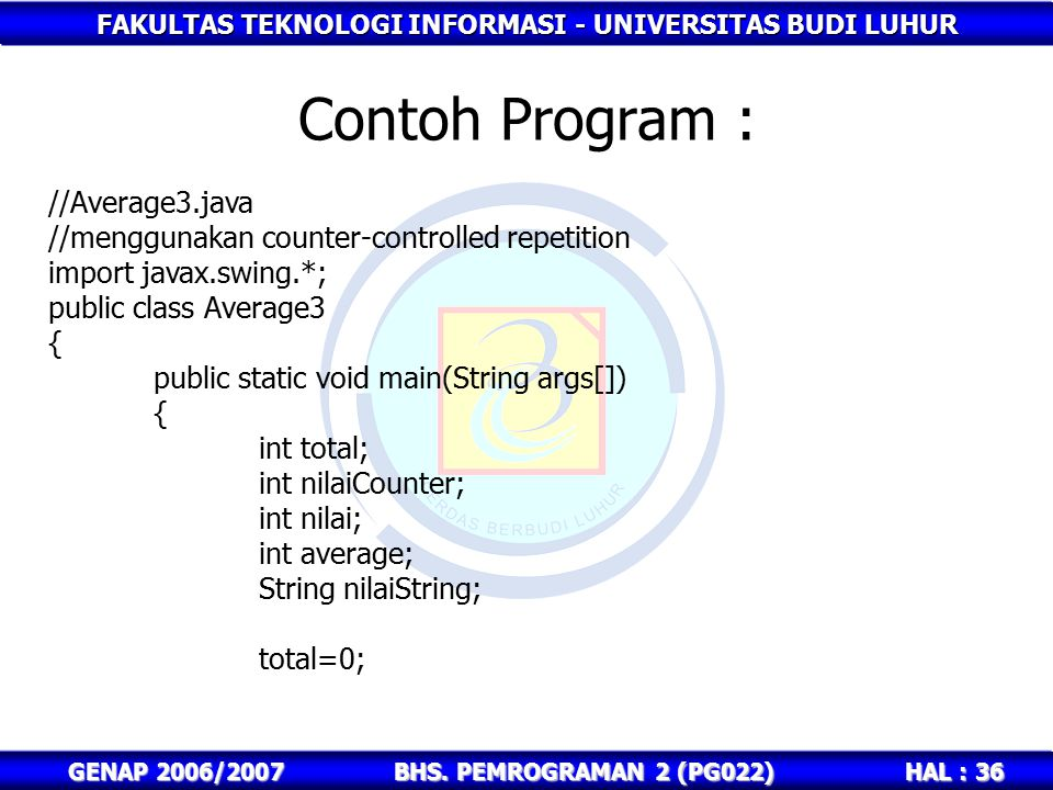 Contoh Program : //Average3.java