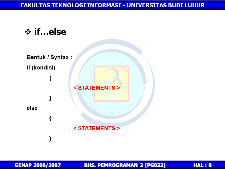 if…else Bentuk / Syntax : if (kondisi) { < STATEMENTS > } else