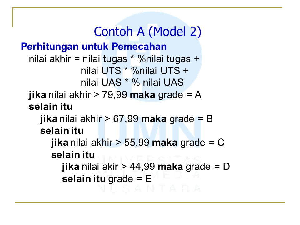 Contoh A (Model 2) Perhitungan untuk Pemecahan