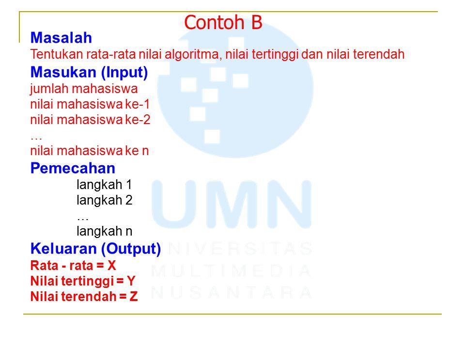 Contoh B Masalah Masukan (Input) Pemecahan Keluaran (Output)
