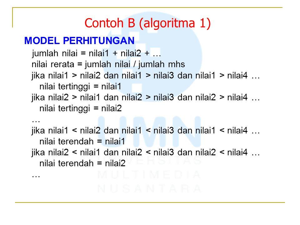 Contoh B (algoritma 1) MODEL PERHITUNGAN