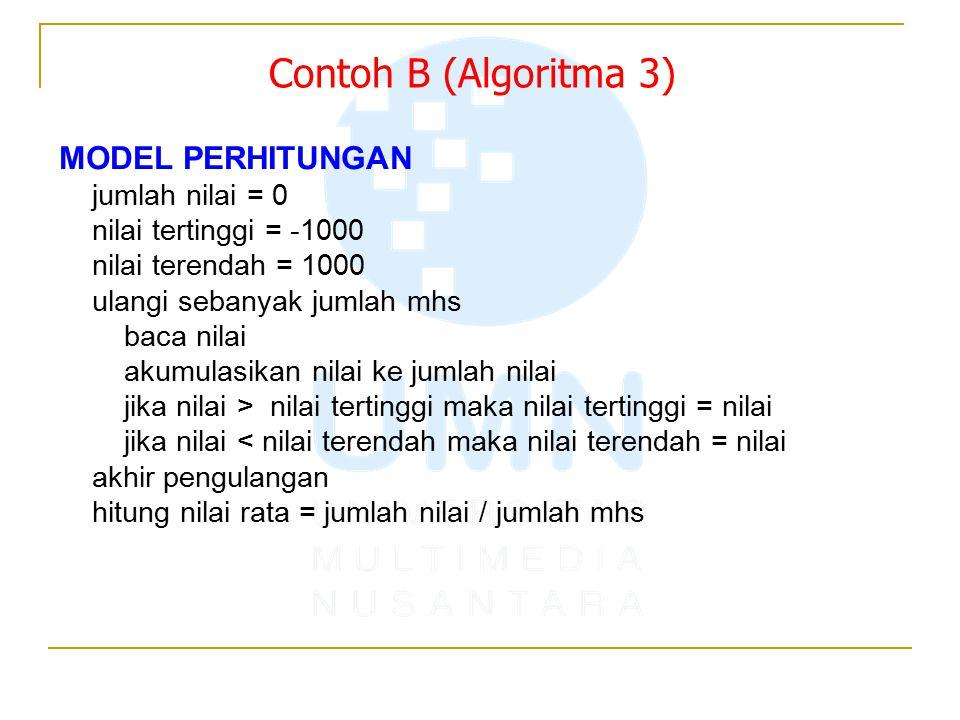 Contoh B (Algoritma 3) MODEL PERHITUNGAN jumlah nilai = 0