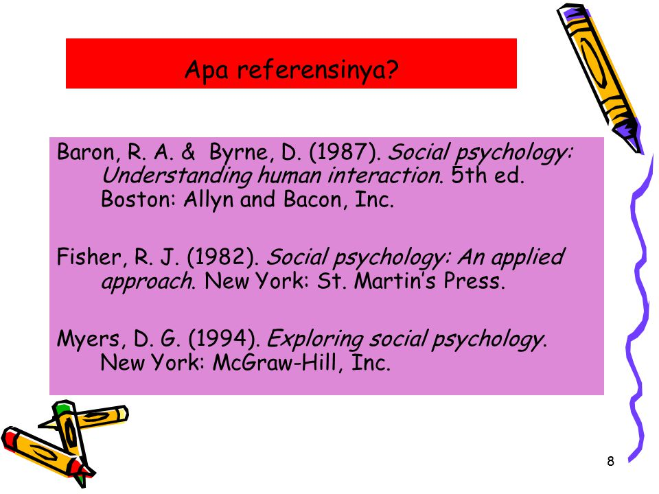 Apa referensinya Baron, R. A. & Byrne, D. (1987). Social psychology: Understanding human interaction. 5th ed. Boston: Allyn and Bacon, Inc.