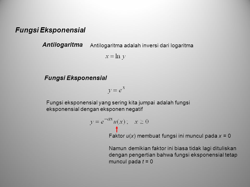 Fungsi Eksponensial Antilogaritma Fungsi Eksponensial