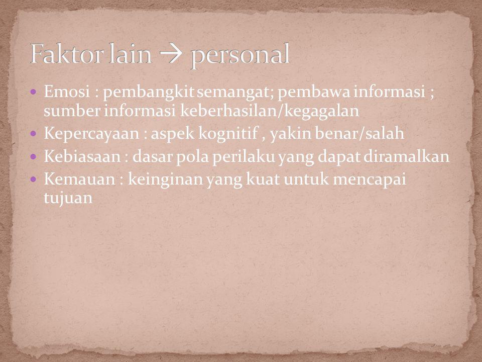 Faktor lain  personal Emosi : pembangkit semangat; pembawa informasi ; sumber informasi keberhasilan/kegagalan.