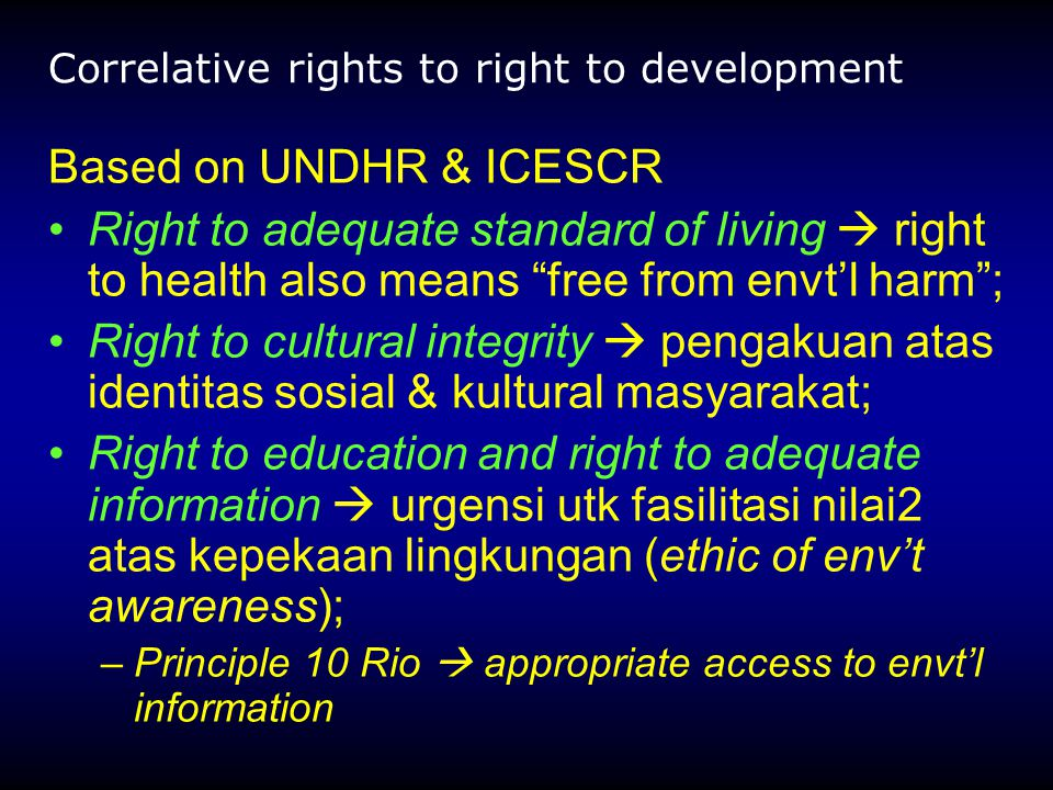 Correlative rights to right to development
