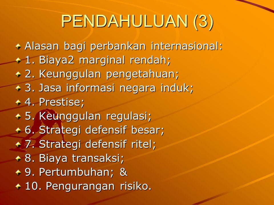 PENDAHULUAN (3) Alasan bagi perbankan internasional: