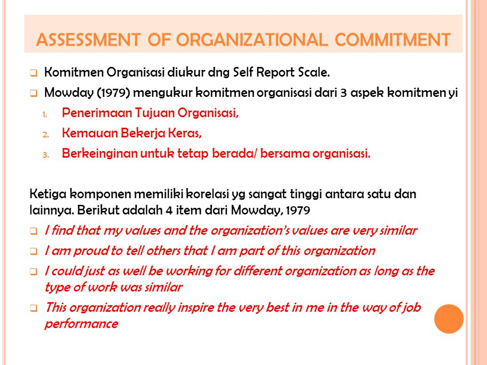 ASSESSMENT OF ORGANIZATIONAL COMMITMENT