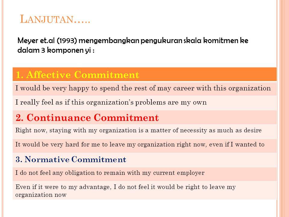 Lanjutan….. 1. Affective Commitment 2. Continuance Commitment