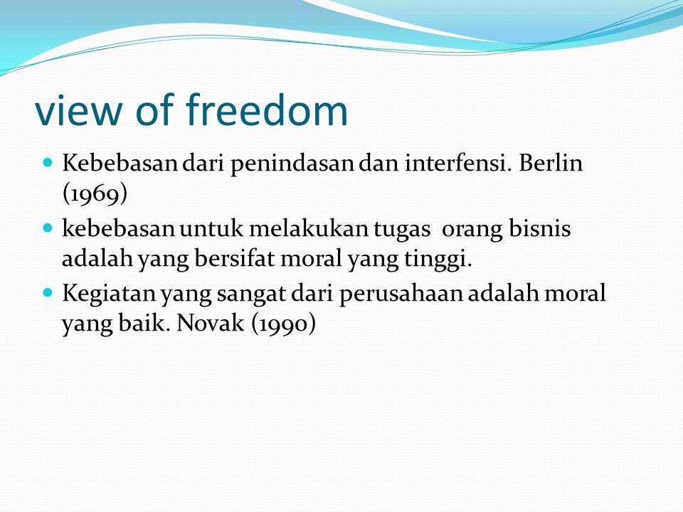 view of freedom Kebebasan dari penindasan dan interfensi. Berlin (1969)