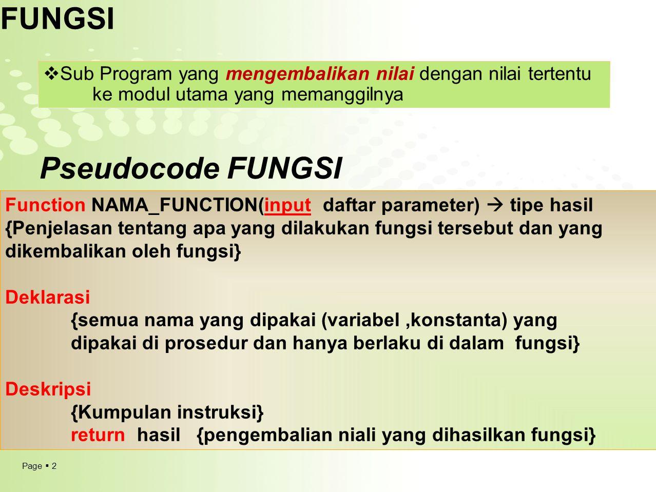 FUNGSI Pseudocode FUNGSI