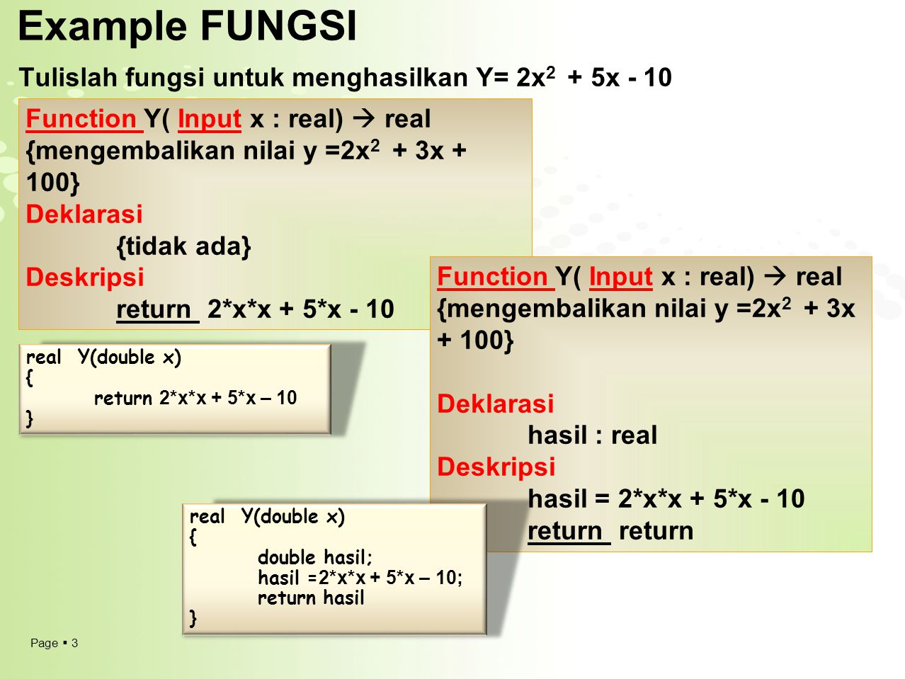 Example FUNGSI Tulislah fungsi untuk menghasilkan Y= 2x2 + 5x - 10