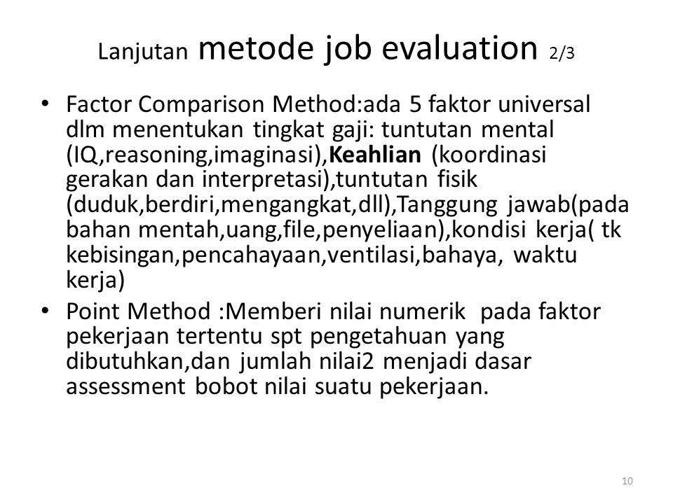 Lanjutan metode job evaluation 2/3