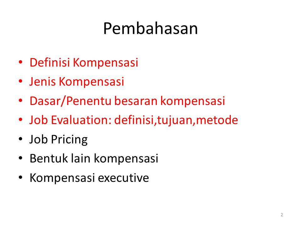 Pembahasan Definisi Kompensasi Jenis Kompensasi