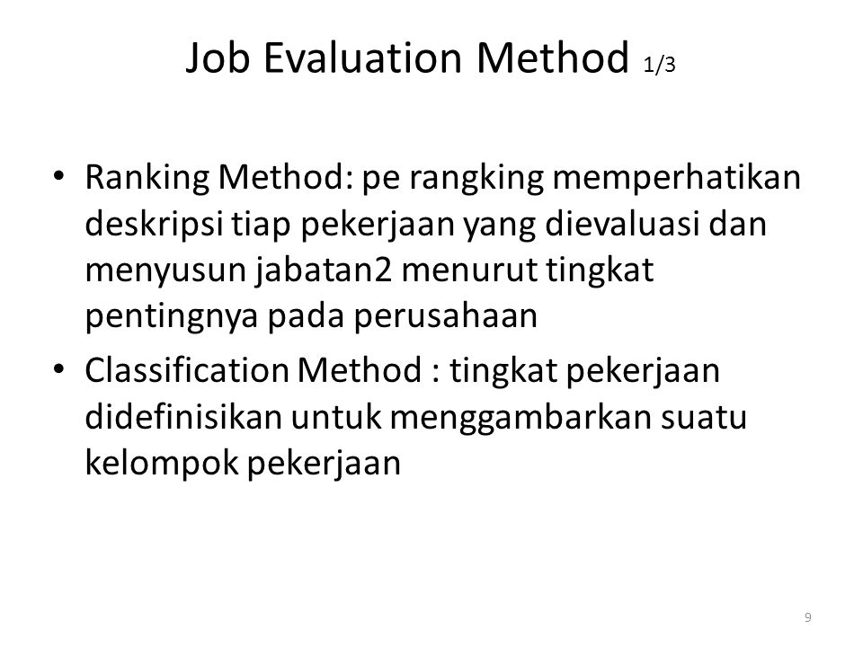 Job Evaluation Method 1/3