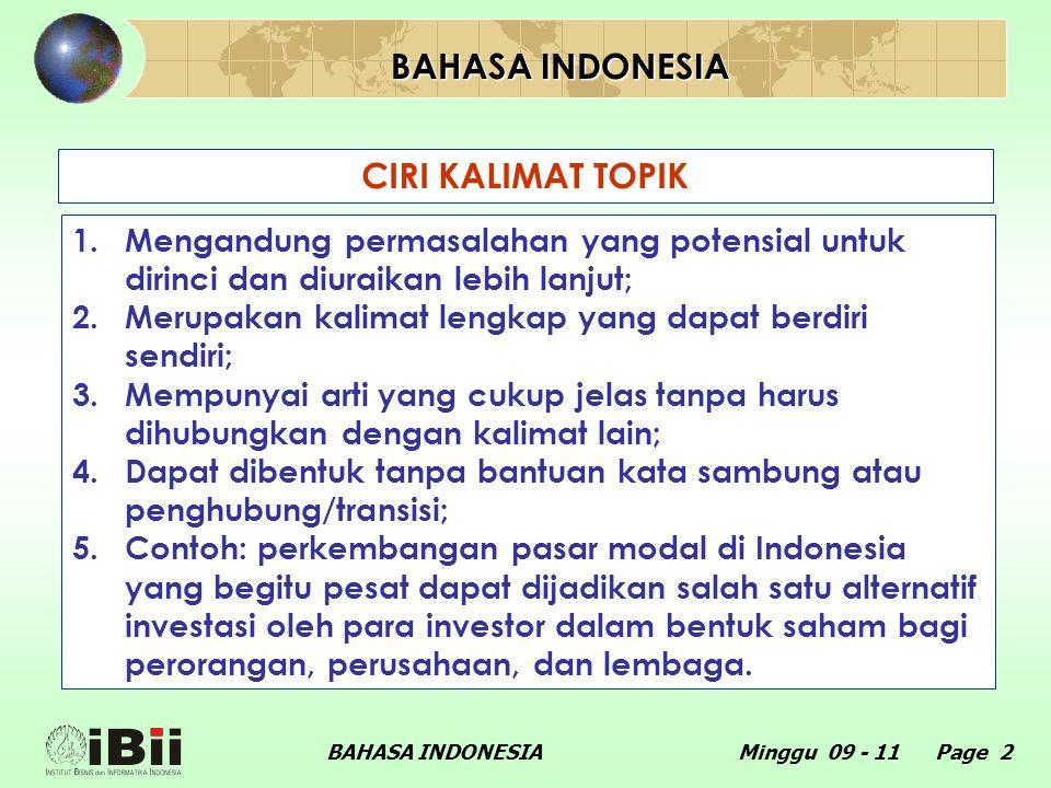 BAHASA INDONESIA CIRI KALIMAT TOPIK