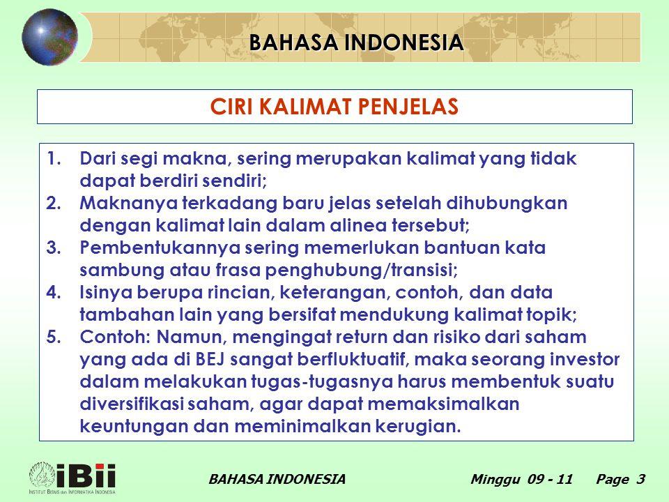 BAHASA INDONESIA CIRI KALIMAT PENJELAS