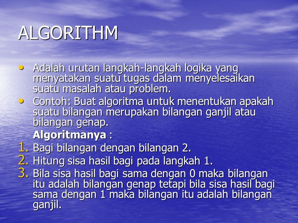 ALGORITHM Adalah urutan langkah-langkah logika yang menyatakan suatu tugas dalam menyelesaikan suatu masalah atau problem.