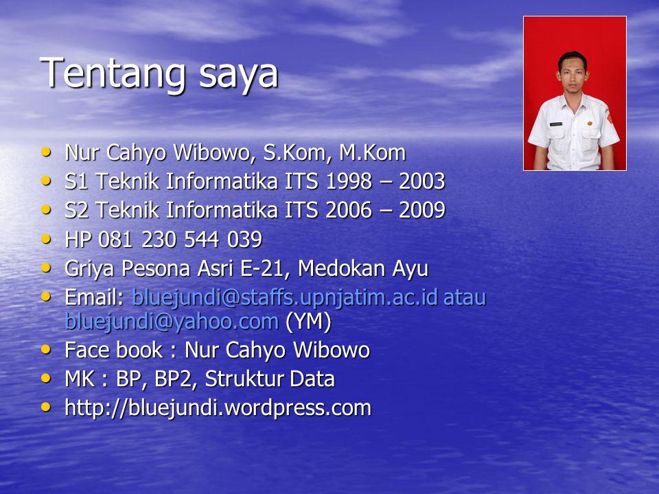 Tentang saya Nur Cahyo Wibowo, S.Kom, M.Kom