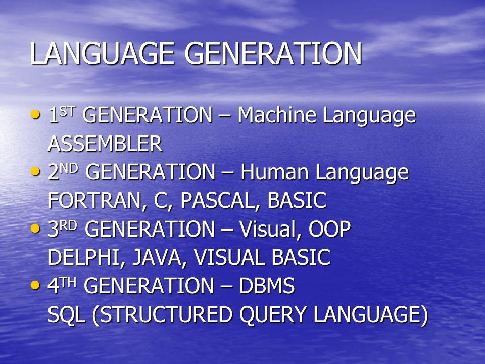 LANGUAGE GENERATION 1ST GENERATION – Machine Language ASSEMBLER