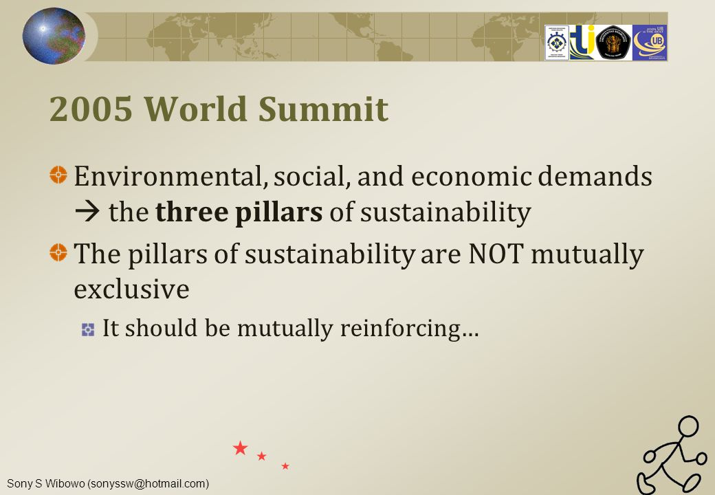 2005 World Summit Environmental, social, and economic demands  the three pillars of sustainability.