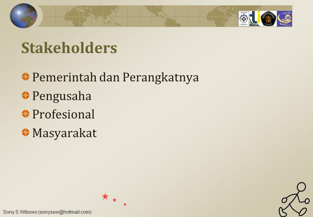 Stakeholders Pemerintah dan Perangkatnya Pengusaha Profesional