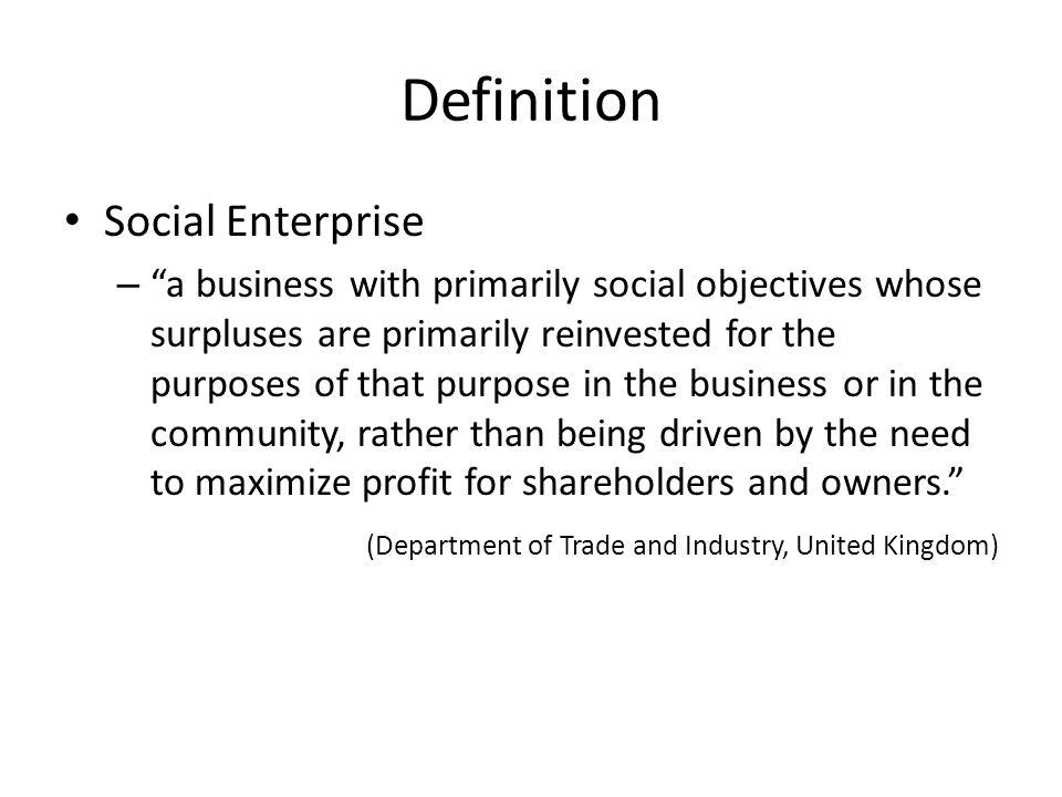 Definition Social Enterprise