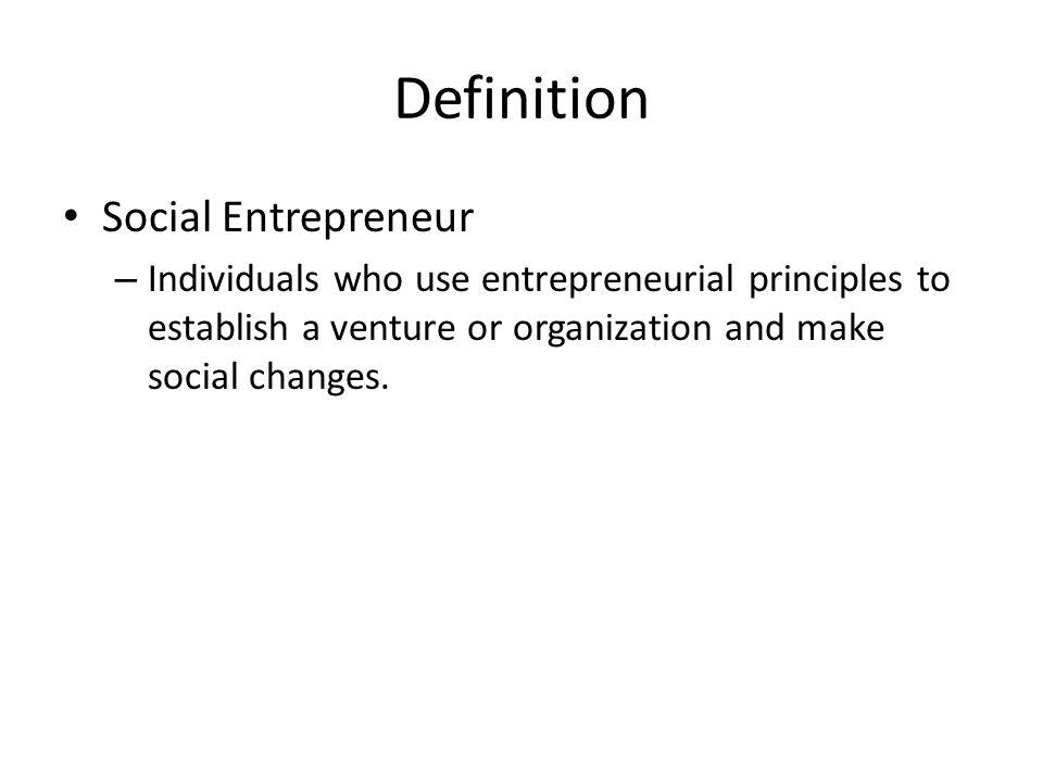 Definition Social Entrepreneur