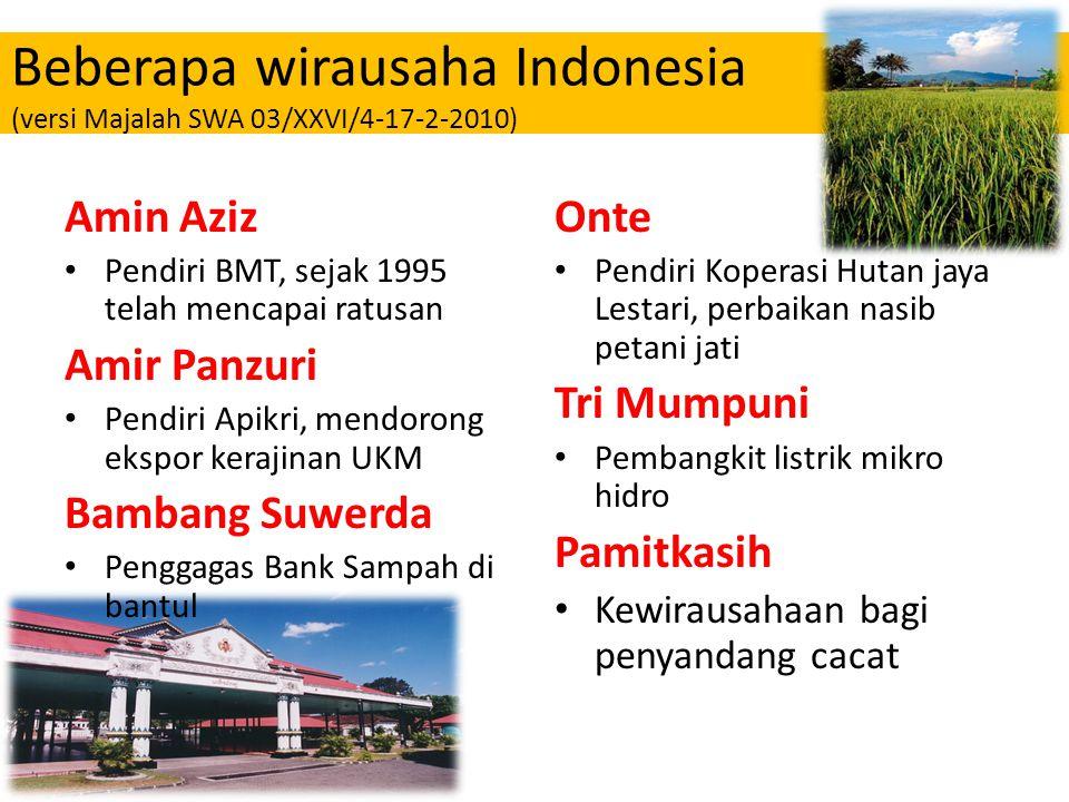 Beberapa wirausaha Indonesia (versi Majalah SWA 03/XXVI/4-17-2-2010)