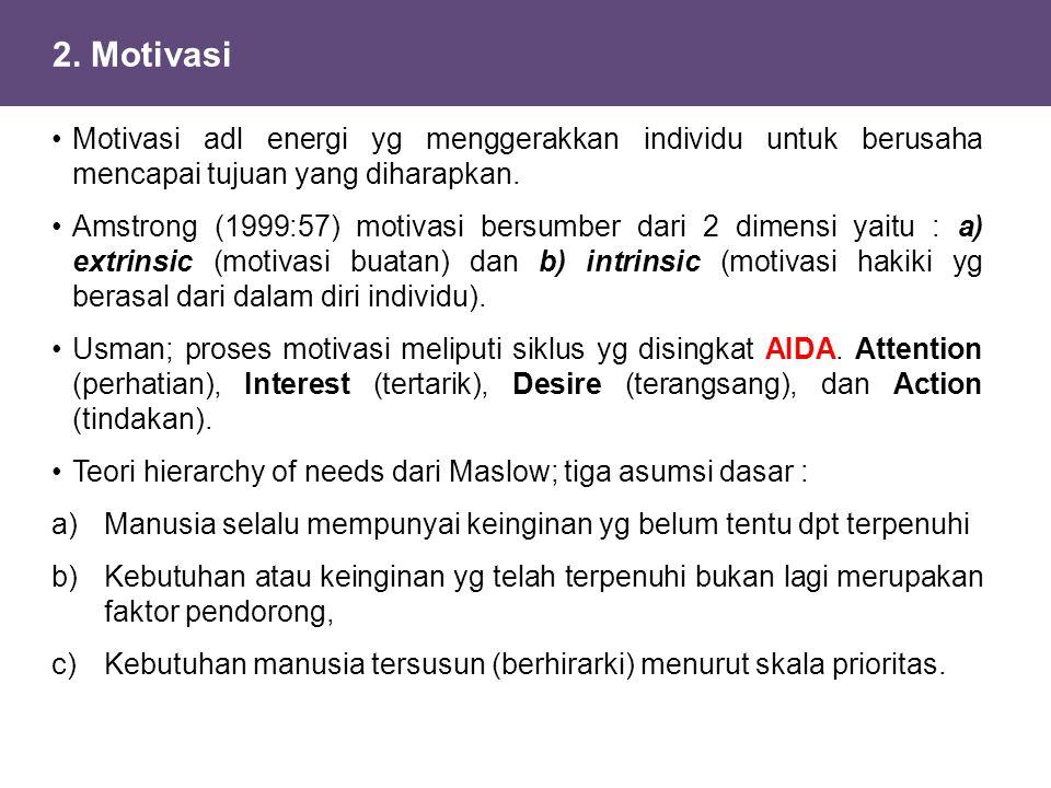 2. Motivasi Motivasi adl energi yg menggerakkan individu untuk berusaha mencapai tujuan yang diharapkan.