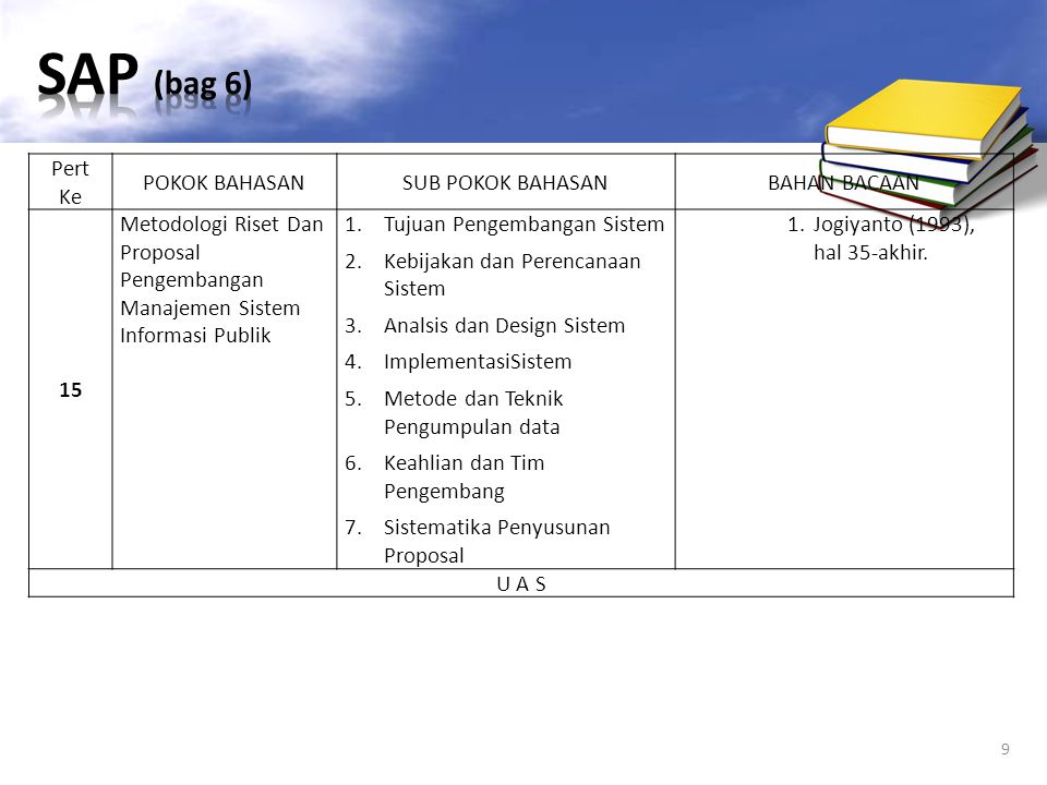 SAP (bag 6) Pert Ke POKOK BAHASAN SUB POKOK BAHASAN BAHAN BACAAN 15