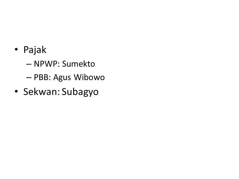 Pajak NPWP: Sumekto PBB: Agus Wibowo Sekwan: Subagyo