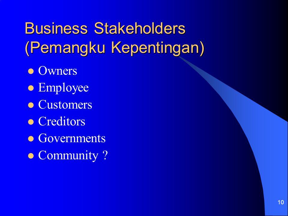 Business Stakeholders (Pemangku Kepentingan)