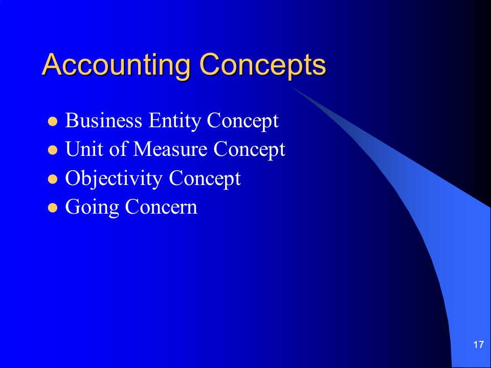Accounting Concepts Business Entity Concept Unit of Measure Concept
